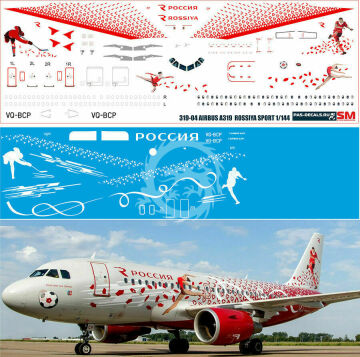 Airbus A319 ROSSIYA NEW SPORT - VQ-BCP - kalkomania Pas-decals skala 1/144